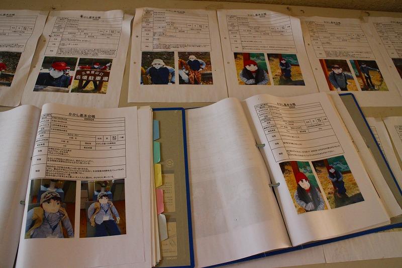 かかしの情報が記載されている基本台帳は旧名頃小学校にあり、「かかし祭り」の時に見ることができる