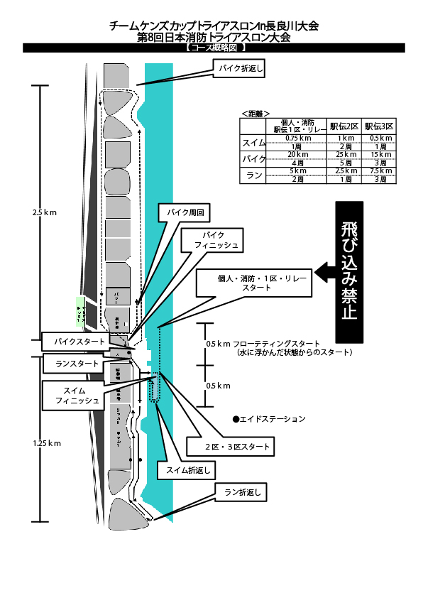 トライアスロン大会のコース図