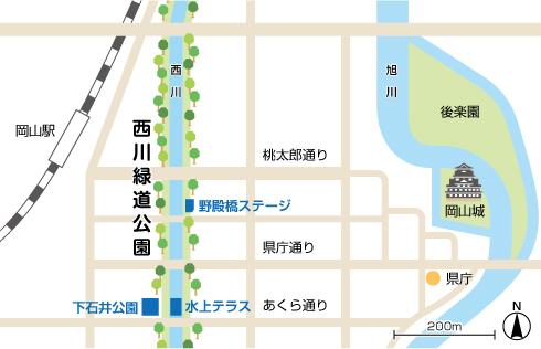 西川緑道公園周辺地図