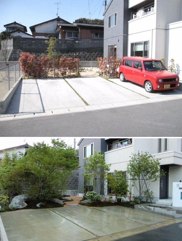 樹木の植栽、コケ、石を配置しリガーデンした例 前(上)と後(下)作庭写真山口市・(有)坂本造園)