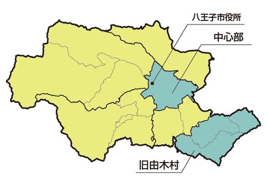 八王子市の略図<br>八王子市は6地域に区分され、<br>旧由木村は現東部地域にあった