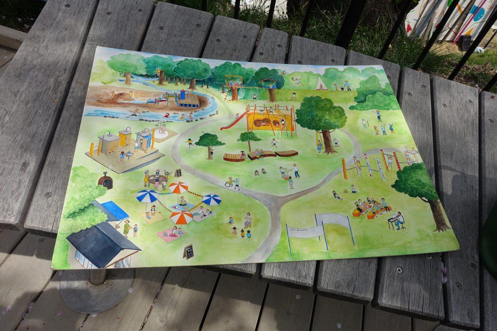 市に思いや考えを伝えるために描いた広場のイメージ図<br>中央にはケルナー遊具がある