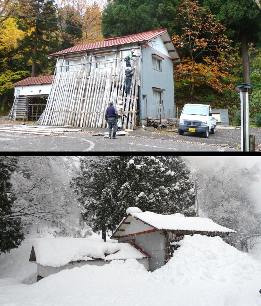 豪雪に備えて管理棟に雪囲いをする。冬期はすっぽりと管理棟が埋まってしまう