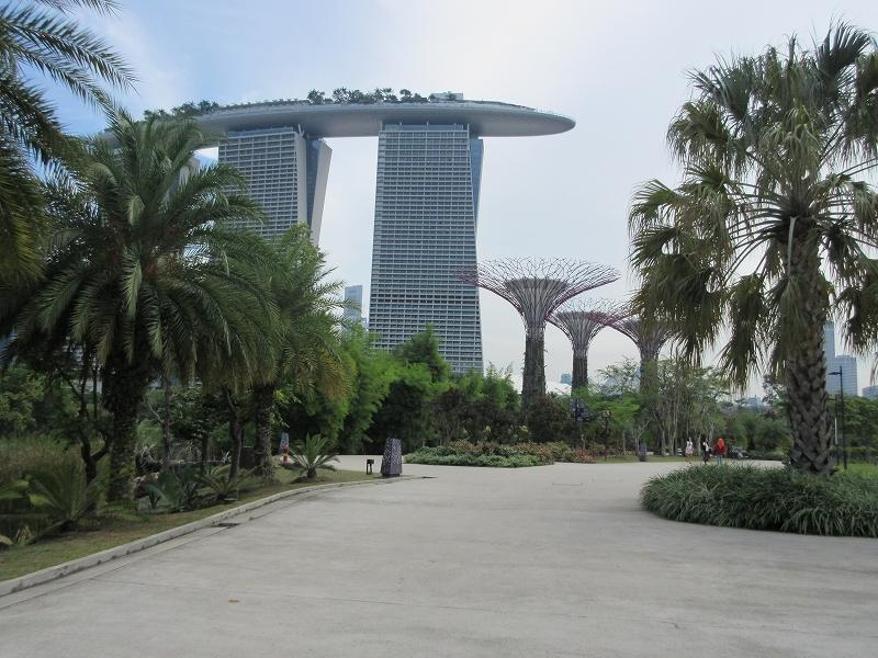 ホテル マリーナベイサンズ(写真左)の展望デッキから公園を望むことができる