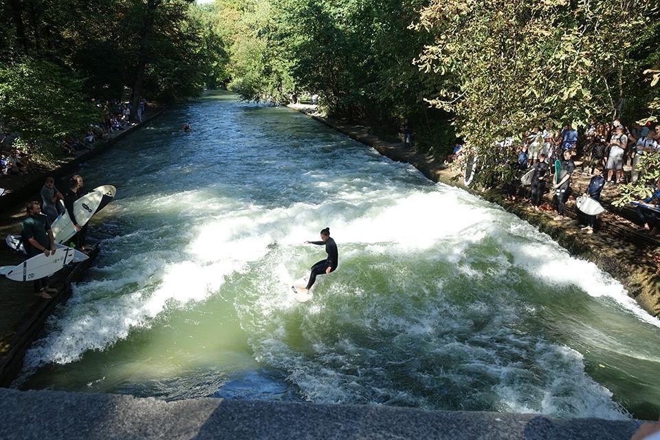 急流ではリバーサーフィンをしている姿も見られる