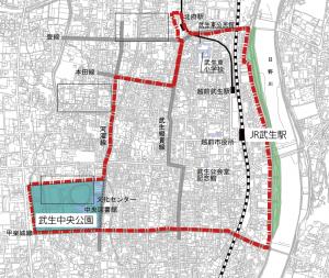 越前市の中心市街地区域(赤枠内)と武生中央公園の位置(越前市資料に一部加筆)