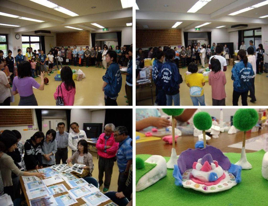 地域の中学生や大学生もスタッフとして<br>公園づくりイベントの企画に参加<br>イベントには多くの地域の子供が参加してくれた