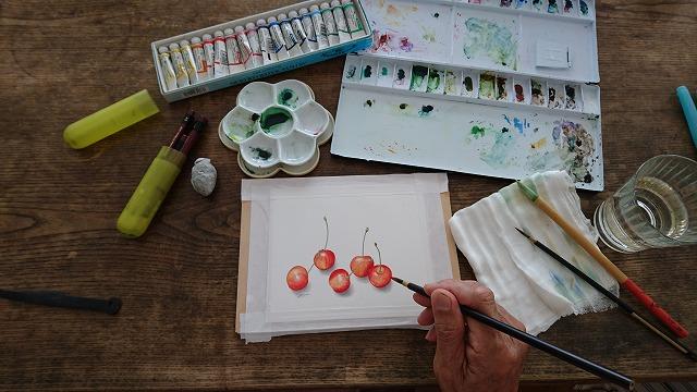 水彩絵の具、パレットに筆があればボタニカル・アートを始められる