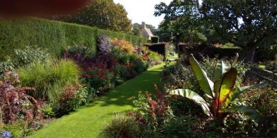 様々な赤い葉や花の植物を集めたレッドボーダーガーデンも、<br>高い生垣で仕切られている