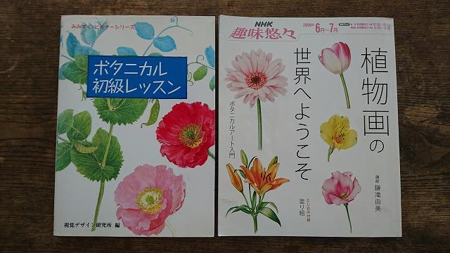 植物画の描き方については、多様な本が出版されている(視覚デザイン研究所編『ボタニカル初級レッスン』 視覚デザイン研究所発行(左)、 鎌滝由美『植物画の世界へようこそ』NHK出版(右)