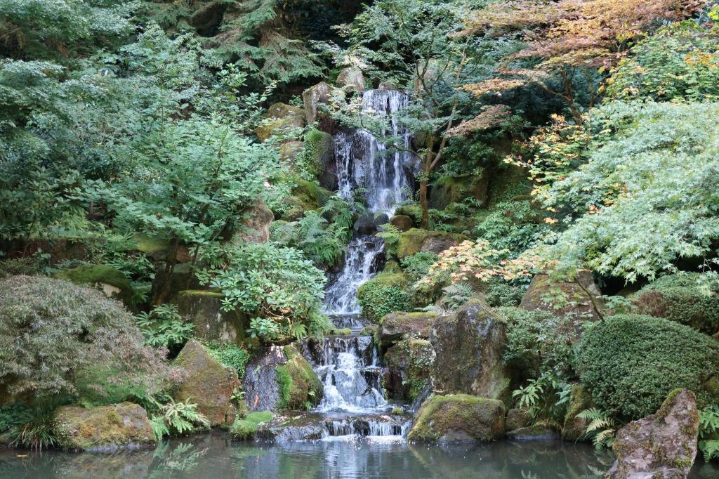段々に流れ落ちるこの滝は、本庭園の人気のフォトスポット