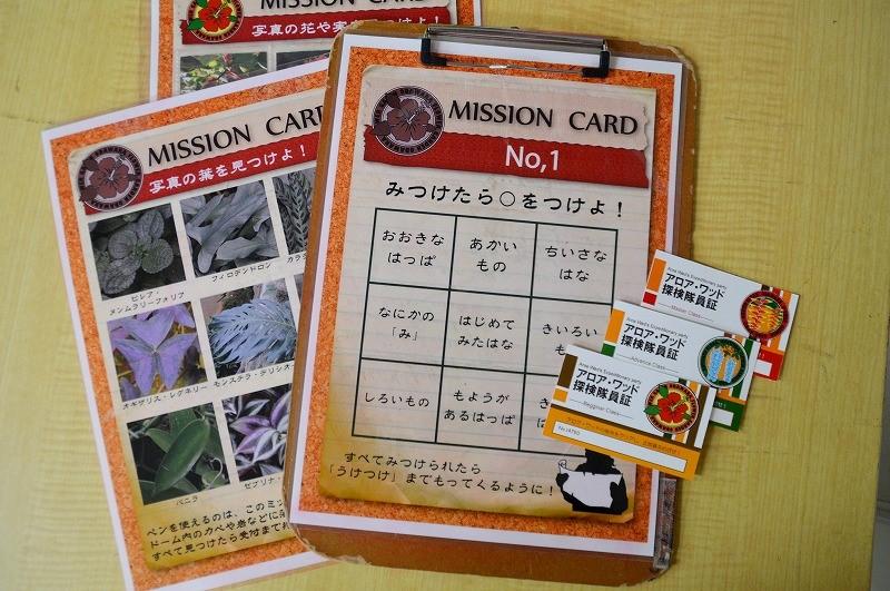 ミッションカードと隊員証。ミッションは、<br/>1時間程度でクリアできる内容となっている