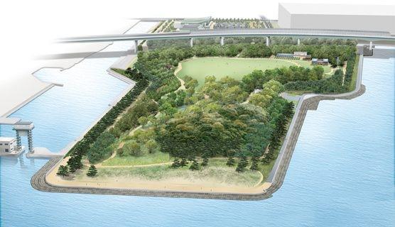 中央緑地の将来像。<br/>手前が100年かけて育てていく森(未開園区域)で、高架橋奥のはじまりの森や中央の大芝生広場とパークセンターが現在開園している
