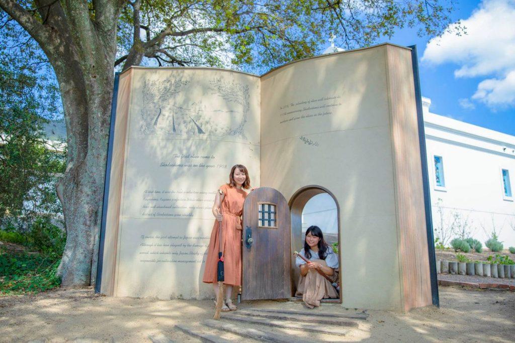 既存の樹木と本が調和し、人気の撮影スポット<br/>となっている「始まりの本」