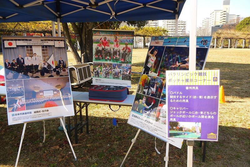 ボッチャ展示コーナーでは、リオオリンピックの<br/>写真や、審判用具等もパネルで紹介した